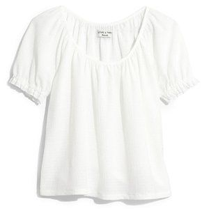 Madewell Texture & Thread Peasant Top Bright Ivory